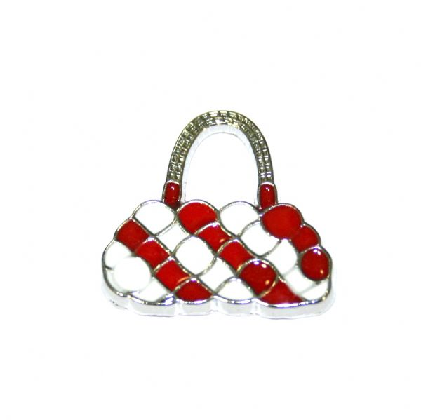 1pce x 20*20mm Rhodium plated red/white handbag enamel charm - SD03 - CHE1028